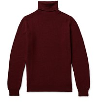 Incotex Popcorn Stitch Wool Rollneck Sweater Burgundy