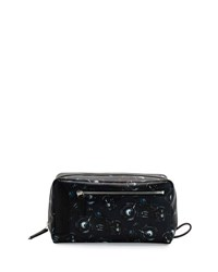 Salvatore Ferragamo Oversized Motorcycle Print Toiletry Case Black Deep Blue Black