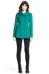 Dolce And Gabbana Double Breasted Wool Blend Short Peacoat Green