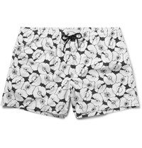 Club Monaco Arlen Slim Fit Short Length Printed Shell Swim Shorts White