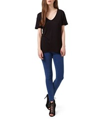 Miss Selfridge Longline Solid Tee Black