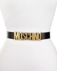 Moschino Wide Leather Logo Buckle Belt Black