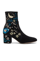 Valentino Suede Astro Couture Boot In Black Abstract Black Abstract