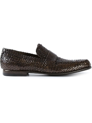 Dolce And Gabbana Woven Loafers Brown