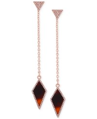 Guess Rose Gold Tone Red Tortoiseshell Look Kite Linear Drop Earrings Multi