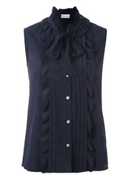 Red Valentino Ruffled Sleeveless Blouse Blue