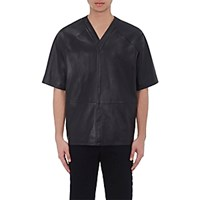 Givenchy Men's Leather Oversized V Neck Top Black Blue Black Blue