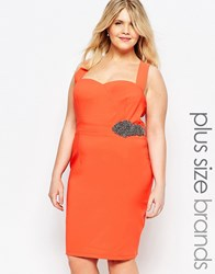 Little Mistress Plus Plunge Front Halter Bodycon Dress Orange