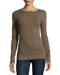 Minnie Rose Essential Long Sleeve Boat Neck Top Canteen