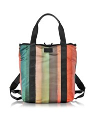 Paul Smith Men's Painted Rainbow Stripe Print 2 Way Tote Bag Multicolor