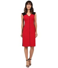 Ellen Tracy Color Block Piped Sheath Rouge Women's Dress Red