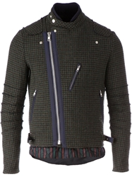 Sacai Biker Style Tweed Jacket Green