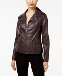 Alfani Faux Leather Moto Jacket Only At Macy's New Wine
