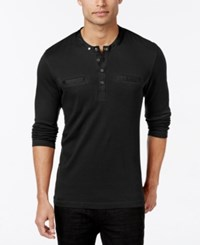 Inc International Concepts Men's Knight Long Sleeve Pocket Henley Only At Macy's Deep Black