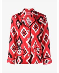 For Restless Sleepers Diamond Print Silk Shirt Red Multi Coloured Black