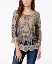 American Rag Sheer Embroidered Long Sleeve Top Only At Macy's
