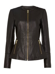 Michael Kors Long Sleeve Zip Leather Jacket Black