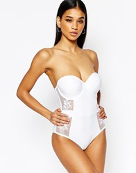 Wolf And Whistle Bustier Lace Swimsuit White