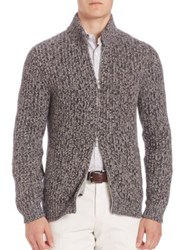 Brunello Cucinelli Ribbed Knit Cashmere Sweater Navy Brown