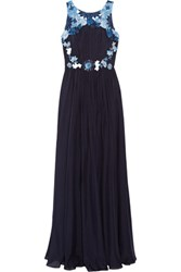 Badgley Mischka Embellished Silk Chiffon Gown Midnight Blue