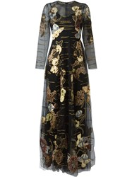 Valentino Embroidered Floral Pattern Dress Black