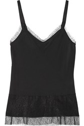 Rag And Bone Maya Lace Trimmed Silk Crepe De Chine Camisole Black