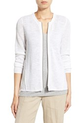 Women's Eileen Fisher Organic Linen And Cotton Crewneck Cardigan White