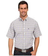 Cinch Athletic Plaid Short Sleeve White Men's Long Sleeve Button Up