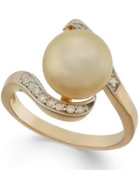 Macy's Golden South Sea Pearl 10Mm And Diamond Ring In 14K Gold Yellow