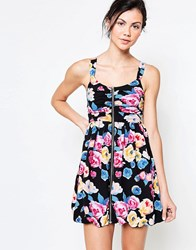 Jasmine Skater Dress With Zip Front In Floral Print Black