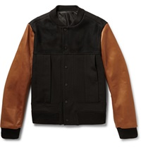 Tim Coppens Wool Blend And Leather Bomber Jacket Brown