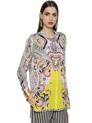 Etro Printed Checked 3D Silk Voile Long Shirt
