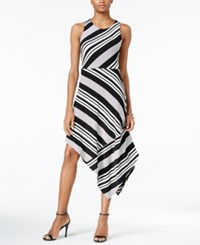 Bar Iii Assymetrical Striped Dress Only At Macy's Black Combo