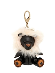 Mcm Lion Charm Key Holder Black