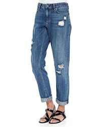 Theory Tatiyana Destroyed Straight Leg Jeans Women's Distressed Blue