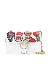 Pinko Love Caramella White Leather Shoulder Bag W Golden Chain