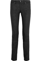 Tory Burch Honour Low Rise Stretch Cotton Blend Jacquard Pants