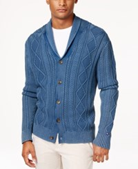 Tommy Hilfiger Men's Nathaniel Cable Knit Shawl Collar Fisherman Cardigan Indigo