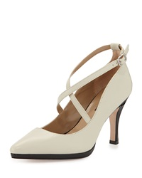 Neiman Marcus Jodie Pointed Toe Crisscross Pump Antique White