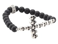 King Baby Studio Onyx Bead Bracelet With Multi Skull Cross Silver Black Bracelet Gray