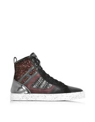 Hogan Rebel R141 Smooth Leather And Suede Wi Tweed And Glitter Fabric High Top Women's Sneakers Black