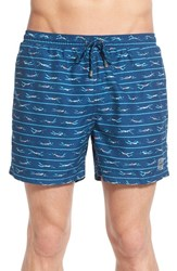 Men's Boss 'Piranha' Print Swim Trunks Open Blue