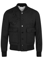 Alexander Mcqueen Charcoal Moth Embroidered Wool Jacket Grey