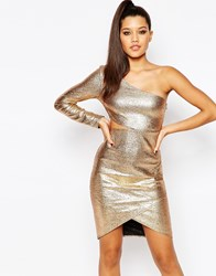 Missguided One Shoulder Cut Out Sexy Mini Dress Gold