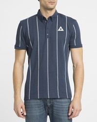 Le Coq Sportif Blue Tennis Stripes Polo Shirt