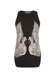 Alexander Mcqueen Swan Embroidered Jersey Tank Top