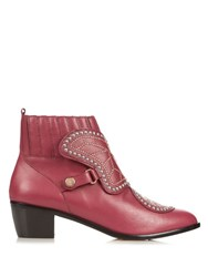 Sophia Webster Karina Butterfly Studded Leather Ankle Boots Burgundy