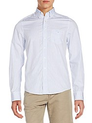 Gant Fitted Striped Cotton Sportshirt Bianco Blue
