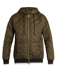 Astrid Andersen Diamond Quilted Hooded Sweatshirt Green