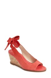 Women's Bettye Muller 'Playlist' Tie Slingback Wedge Sandal Coral Suede